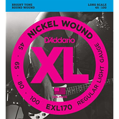 d'addario exl170 nickel wound bass guitar strings, light, 45-100, long scale Daddario Chrome Bass Strings