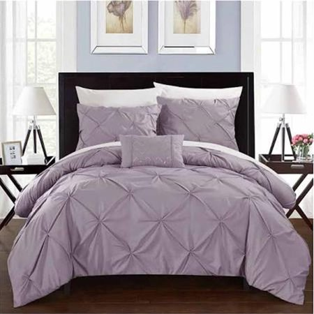 Chic Home DS2449 4 Piece Daya Lavender Duvet Set, Queen