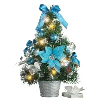 Collections Etc Decorated Prelit Tabletop Christmas Trees BLUE