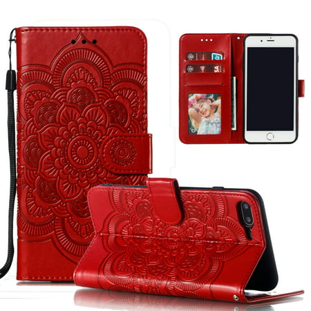 iPhone 8 Plus Wallet Case, iPhone 7 Plus Case, Dteck Embossed Flower PU Leather Flip Stand Case Cover With Hand Strap [Built-in Card Slots] For Apple iPhone 8 Plus/ 7 Plus, (Best Case For Iphone 7 Plus Red)