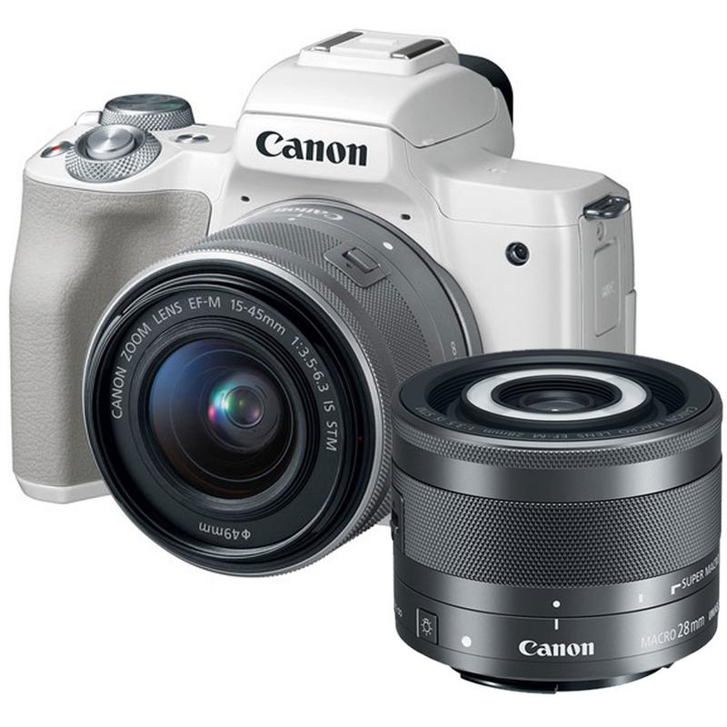 Canon EOS M50 Mirrorless 24.1MP Digital Camera White with 15-45mm is STM Lens and 28mm Macro is STM Lens