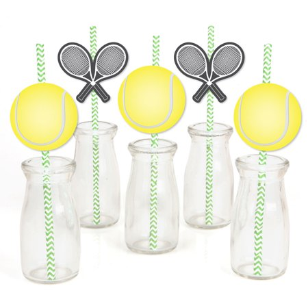 You Got Served - Tennis - Paper Straw Decor - Baby Shower or Tennis Ball Birthday Party Striped Decorative Straws-24