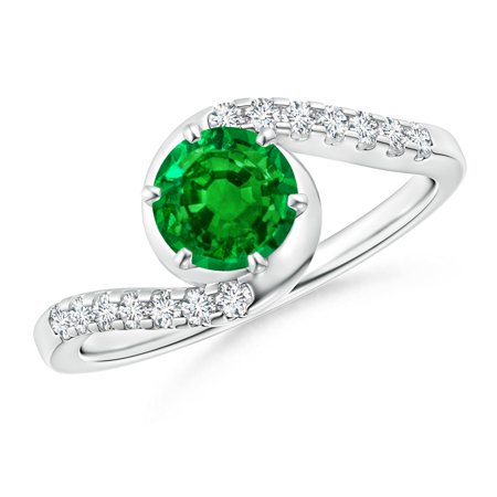 May Birthstone Ring - Prong-Set Emerald Bypass Ring with Diamond Accents in Platinum (6mm Emerald) - SR0223ED-PT-AAAA-6-13