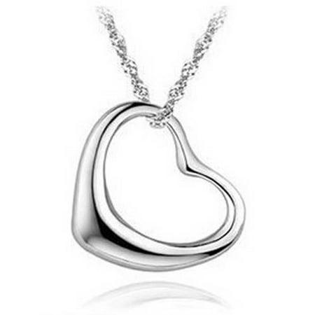 Designer I1 Necklace - A&M Designer Inspired Silver-Tone Heart-Shaped Necklace, 18