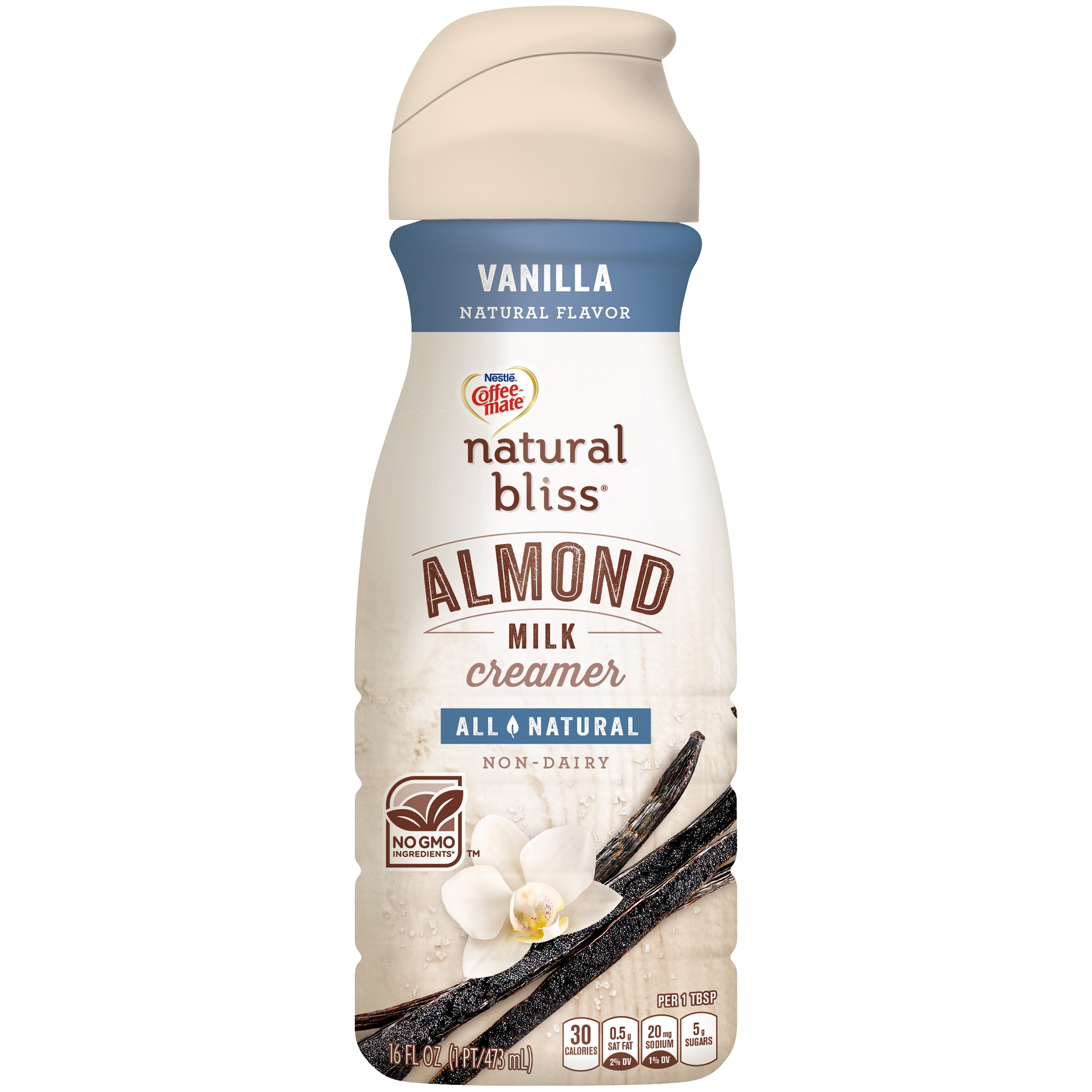 COFFEE MATE NATURAL BLISS Almond Milk Vanilla All-Natural Liquid Coffee  Creamer, 16 Fl  Oz  Bottle | Non-Dairy Creamer