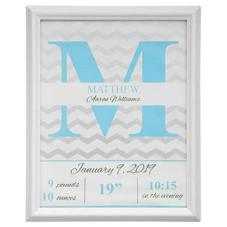 """Personalized Chevron Birth Details Print, 11"""" x 14"""", Available in Blue or Pink"""