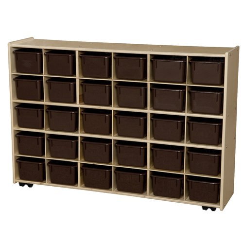 Wood Designs Contender Mobile Storage 30 Compartment Cubby with Casters