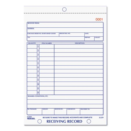 Rediform Receiving Record Book, 5 9/16 x 7 15/16, Two-Part Carbonless, 50 Sets/Book -RED2L259 Rediform Two Part