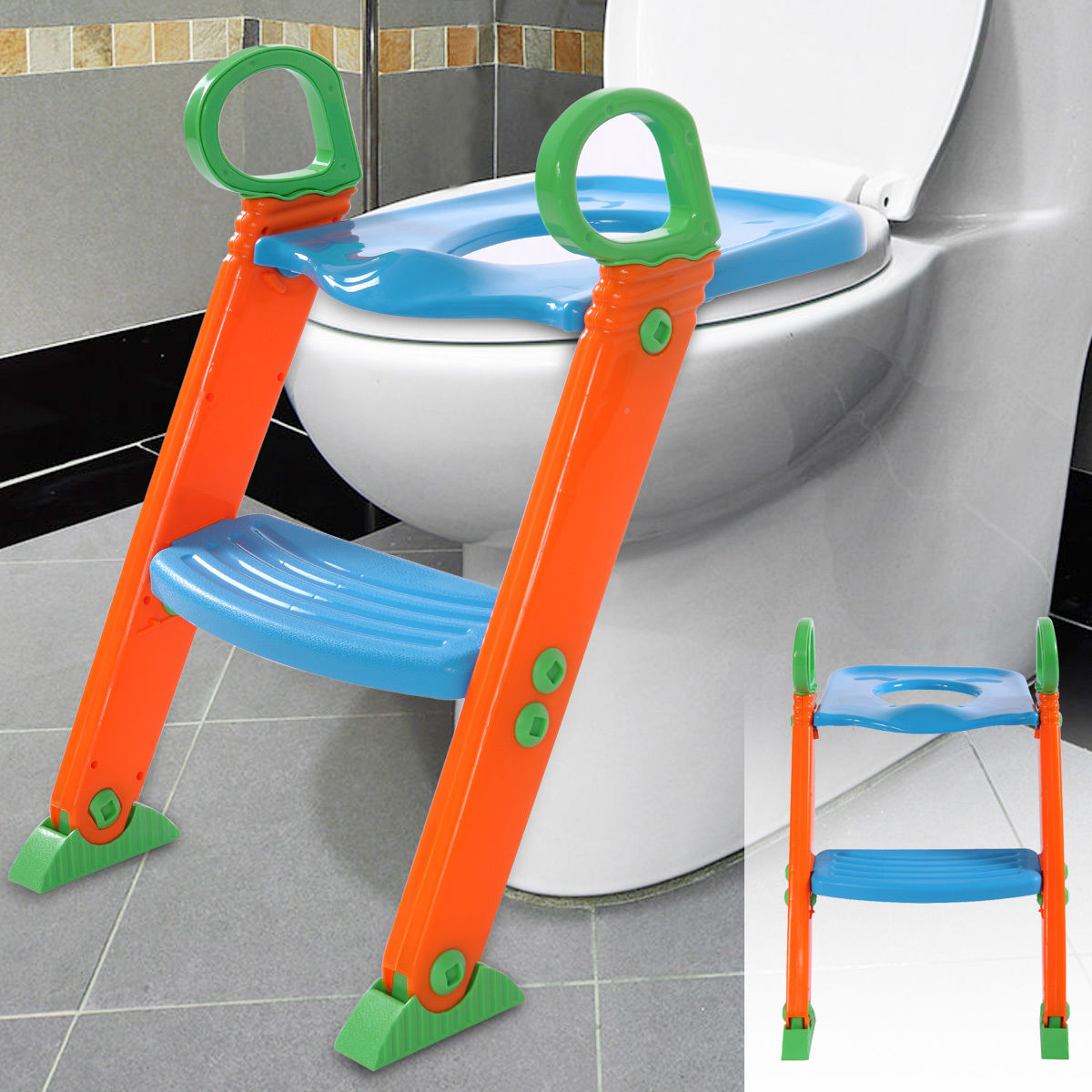 Lazymoon Toilet Trainer Seat Kids Toilet Chair Toddler With Ladder Step Up Training Stool by Lazymoon