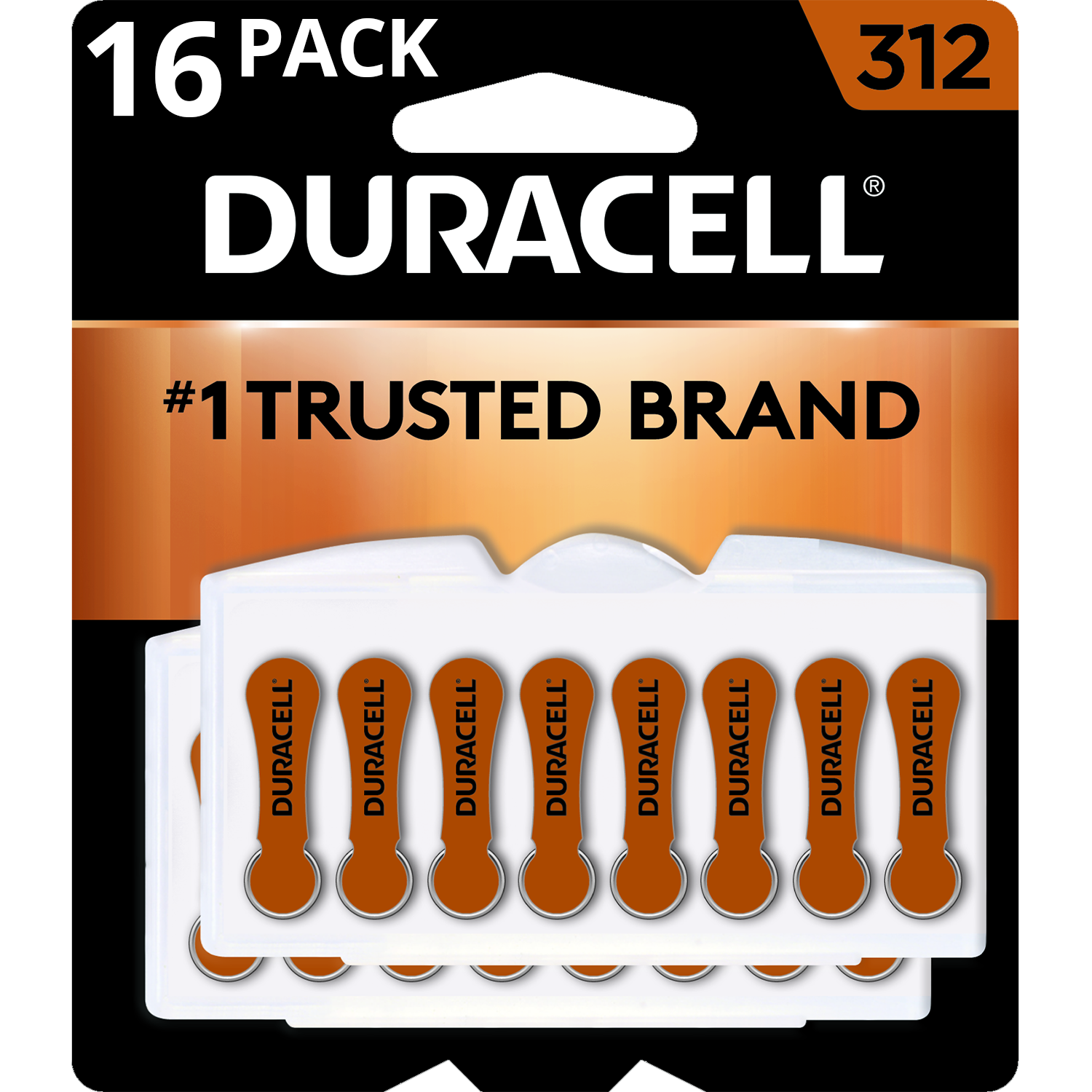 Duracell Hearing Aid Batteries with Easy-Fit Tab, Size 312, 16 Pack