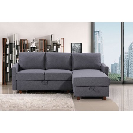 US Pride Furniture Royze Linen Fabric Reversible Sectional with Storage, Dark Gray ()