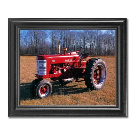 Red Farmall Model 400 Farm Tractor Photo Wall Picture Black