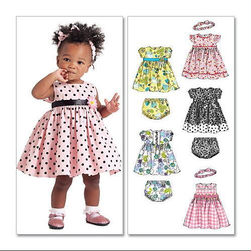 Infants' Lined Dresses, Panties and Headband - All Sizes in One Envelope Pattern