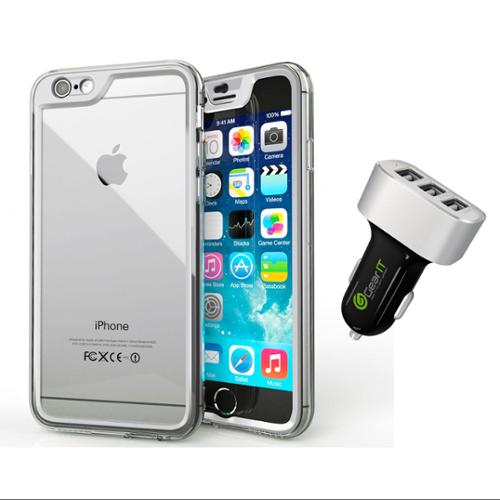 iPhone 6 Case Bundle (Case + Charger), roocase iPhone 6 4.7 Gelledge Hybrid PC / TPU Protective Full Body Case Cover with Black 5.1A Car Charger for Apple iPhone 6 4.7-inch, Alpine White