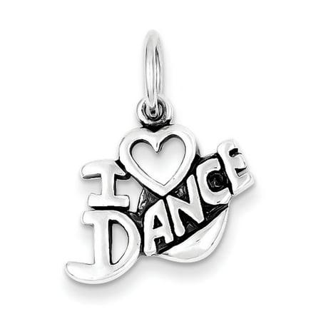 Love Dance Italian Charm (Sterling Silver Antiqued I Love Dance Charm )