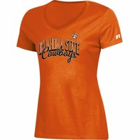 Women's Russell Athletic Orange Oklahoma State Cowboys Arch V-Neck T-Shirt