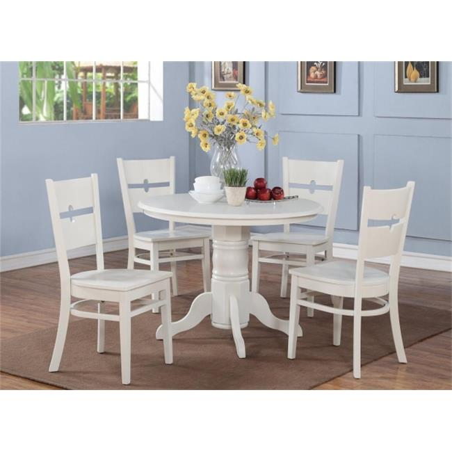 East West Furniture SHRO5-WHI-W 5 Piece Shelton Round Table and 4 Rockville Chairs