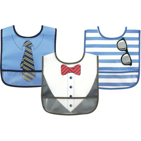 Luvable Friends Baby Boy and Girl PEVA Bib, 3-Pack - Boy Dress Up