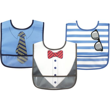 Black Game Bibs (Luvable Friends Baby Boy and Girl PEVA Bib, 3-Pack - Boy Dress)