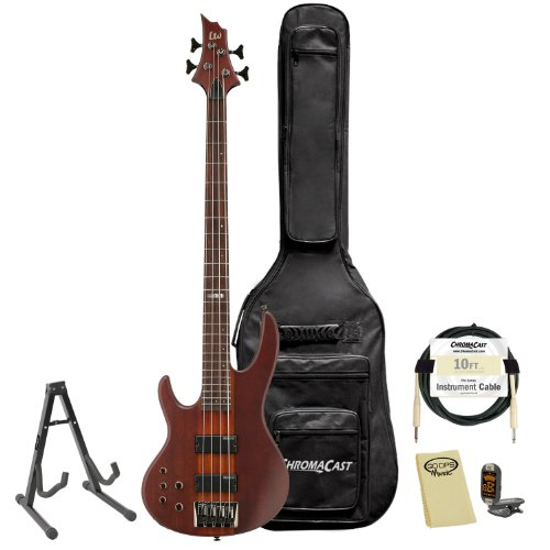 ESP LTD D-4-L H-NS Natural Satin Left-Handed 4-String Electric Bass w  Accessories & Gig... by