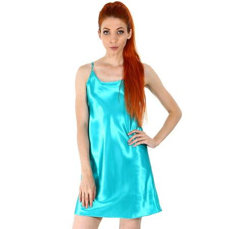Womens Nightshirts Satin Nightgown Chemises Slip Sexy Sleepwear  Teal  M L