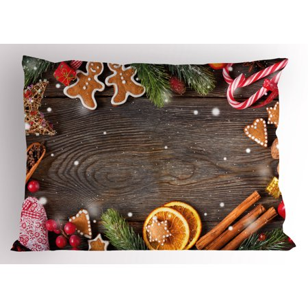 Gingerbread Man Pillow Sham Festive Christmas Frame with Spices Biscuits Elements on Table Art Print, Decorative Standard Size Printed Pillowcase, 26 X 20 Inches, Multicolor, by Ambesonne