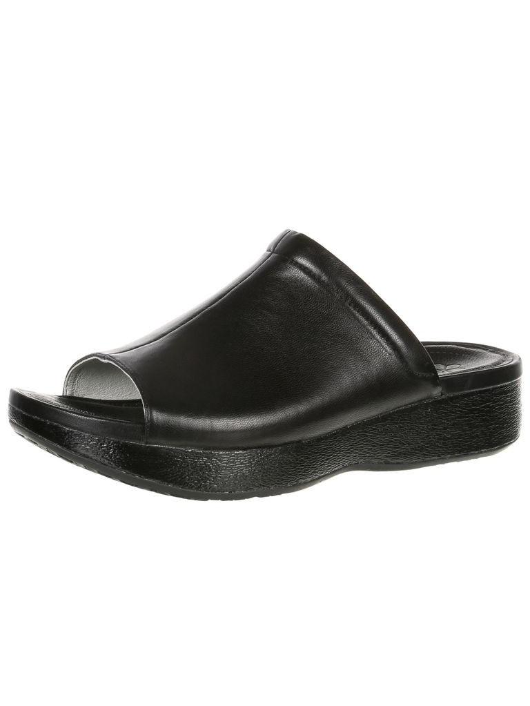 4eursole my time women's black leather slide