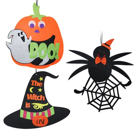 3PCS Halloween Hanging Tag Pumpkin Ghost Spider Witch Hat Decoration for Home Door Window Bar Shopping Malls Company Party