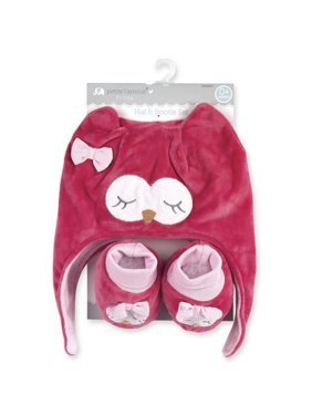 Petite L'amour Newborn Hat and Bootie Set - Pink Owl