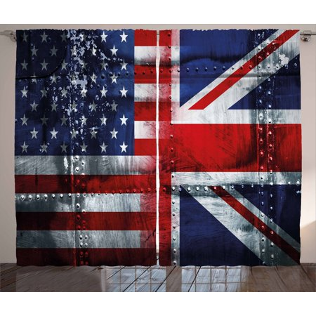 Union Jack Curtains 2 Panels Set, Alliance Togetherness Theme Composition of UK and USA Flags Vintage, Window Drapes for Living Room Bedroom, 108W X 63L Inches, Navy Blue Red White, by Ambesonne