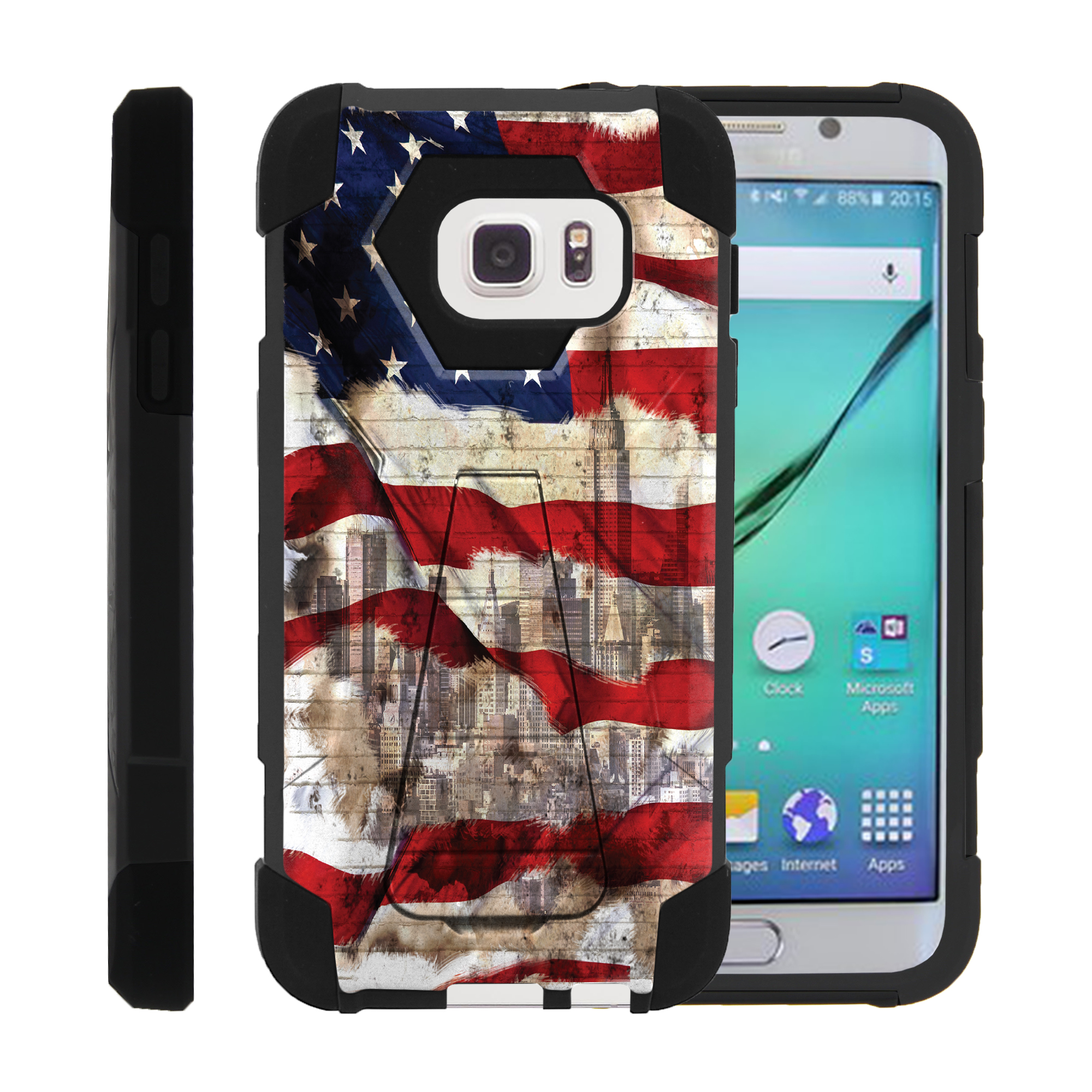 Case for Samsung S7 | S7 Hybrid Cover [ Shock Fusion ] High Impact Shock Resistant Shell Case + Kickstand - New York USA Flag
