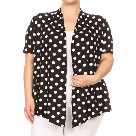 Collection Floral Print - MOA COLLECTION Women's Plus Size Floral Polka Print Loose Fit Open Front Draped Cardigan/Made in USA