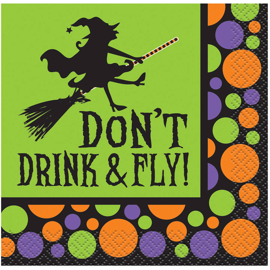 Don't Drink & Fly Halloween Cocktail Napkins, 16-Count by Unique Industries