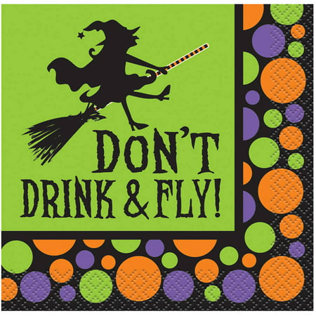 Don't Drink & Fly Halloween Paper Cocktail Napkins, 5 in, 16ct - Halloween Themed Shots Drinks