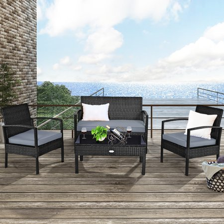 Costway 4 PCS Outdoor Patio Rattan Wicker Furniture Set Table Sofa with Gray Cushions South Sea Rattan Outdoor Sofa