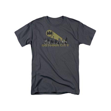 Batman DC Comics Superhero Gotham Skyline Bat Signal Adult T-Shirt Tee - Superhero Skyline