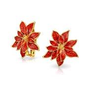 Christmas Holiday Red Enamel Flower Shape Poinsettia Clip On Earrings for Women Non Pierced Ears 14K Gold Plated 1 Inch