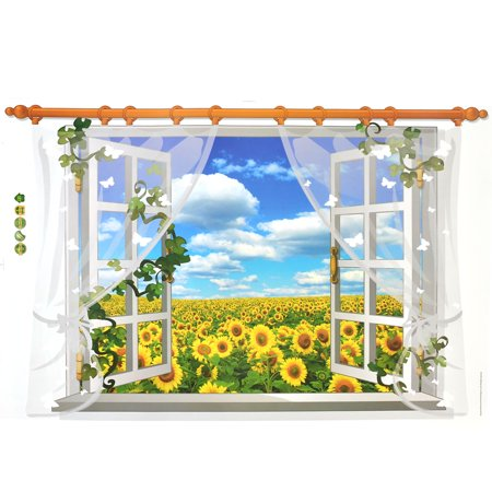 PVC Sunflowers Print DIY Ornament Wall Sticker Decal Mural 60 x