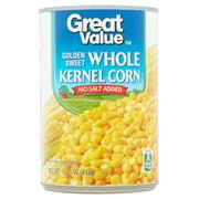 Great Value Golden Sweet Whole Kernel Corn, No Salt Added, 15.25 oz