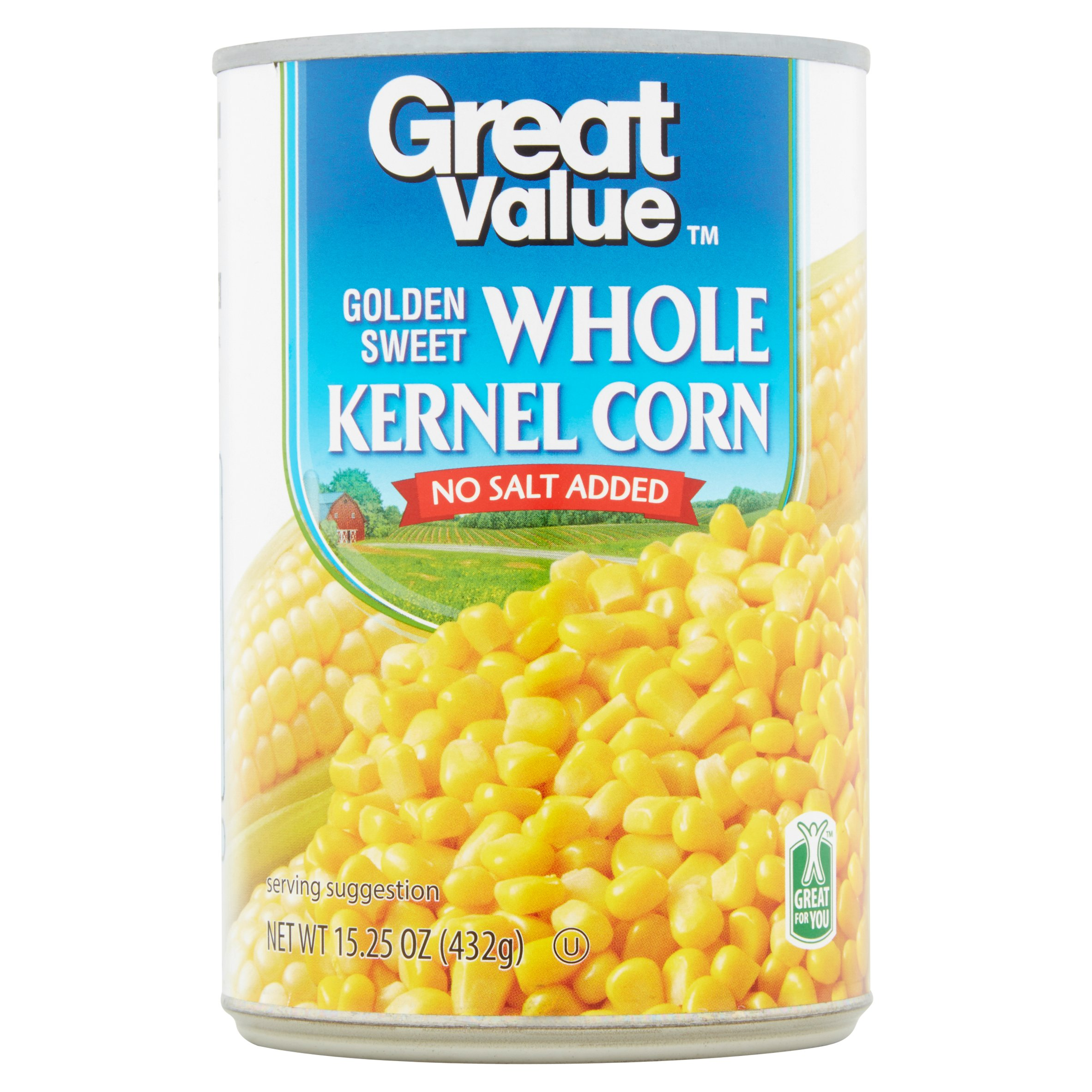 Great Value Golden Sweet Whole Kernel Corn, No Salt Added, 15.25 oz