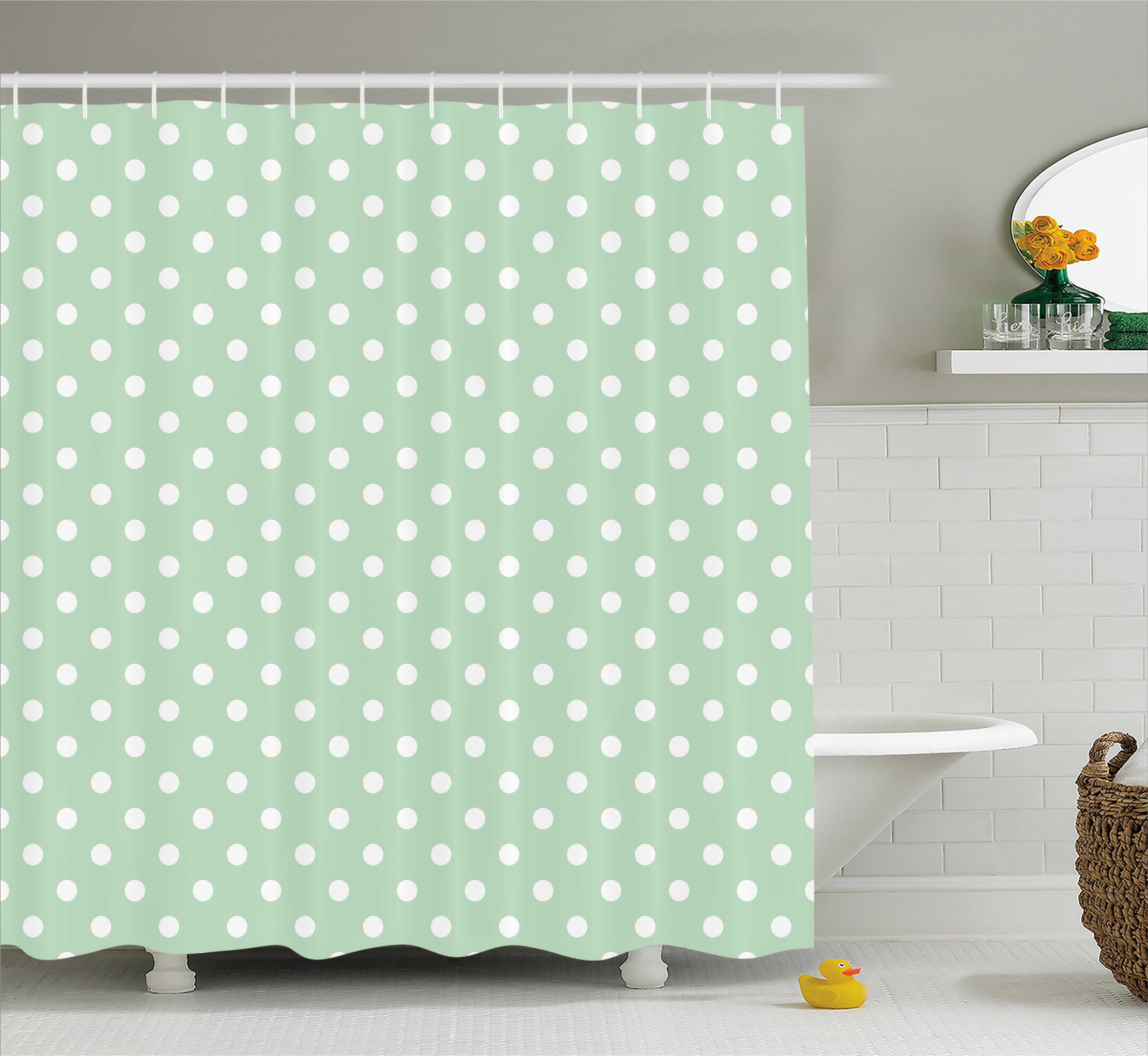 Mint Shower Curtain Classical Old Fashioned Polka Dots Pattern On Pale Green Fresh Background Fabric Bathroom Set With Hooks And White