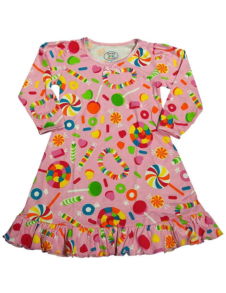 Saras Prints Toddler Girls Long Sleeve Gown Multi Prints Ruffle Flame Resistant, 32735 Multi Peac Signs / 2