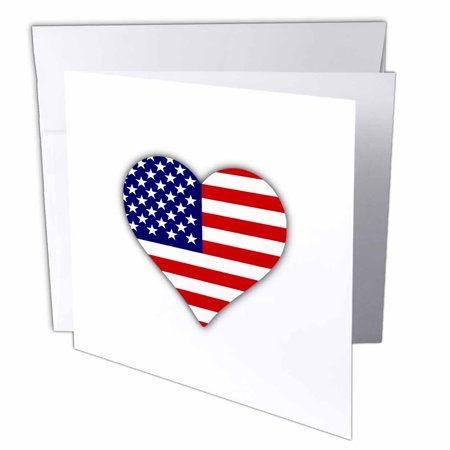 3dRose American Flag Heart - I love America patriotic - USA July 4th gift, Greeting Cards, 6 x 6 inches, set of (American Flag Heart)