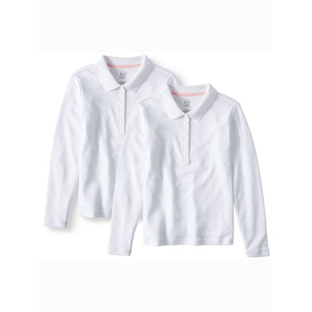 Girls School Uniform Long Sleeve Interlock Polo, 2-Pack Value Bundle - New School Clothes
