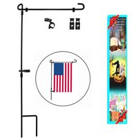 """Garden Flag Stand, Premium Garden Flag Pole Holder Metal Powder-Coated Weather-Proof Paint 36.5"""" H x 16.5"""" W with one Tiger Anti-Wind Clip and Two Anti-Wind Spring Stoppers (A)"""