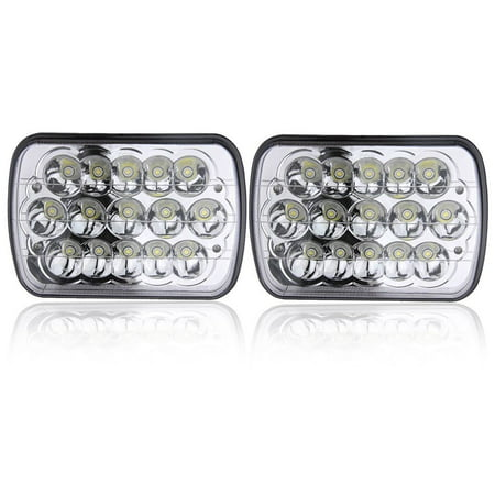 PAIR 7X6 5X7 INCH Rectangular Sealed Beam LED Headlights Jeep Wrangler JK CJ TJ MJ YJ XJ Cherokee Freightliner International Peterbilt Mack H6052 H6053 H6054