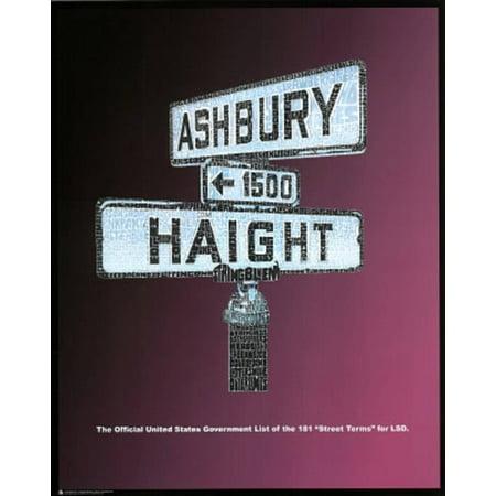 Haight Ashbury (LSD Street Terms) Art Poster Print Poster -