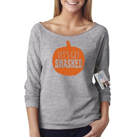 Lets Get Smashed Pumpkin Halloween Off Shoulder French Terry Top