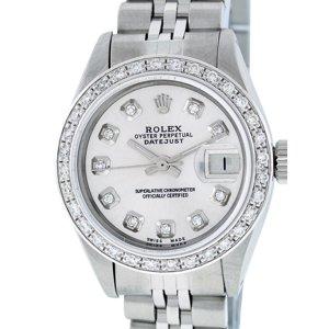 Pre-Owned Rolex Lady Datejust Steel & 18K White Gold Silver Diamond Watch  69160 Jubilee