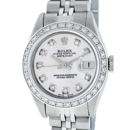 Pre-Owned Rolex Lady Datejust Steel & 18K White Gold Silver Diamond Watch  69160 Jubilee
